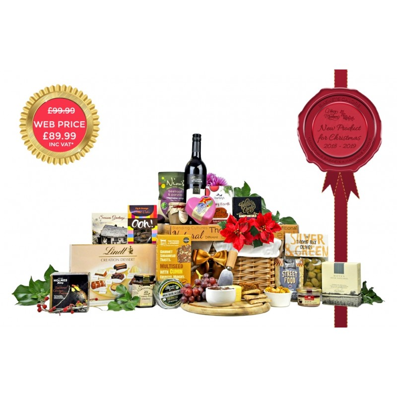 Christmas Hamper With Wine & Cheese