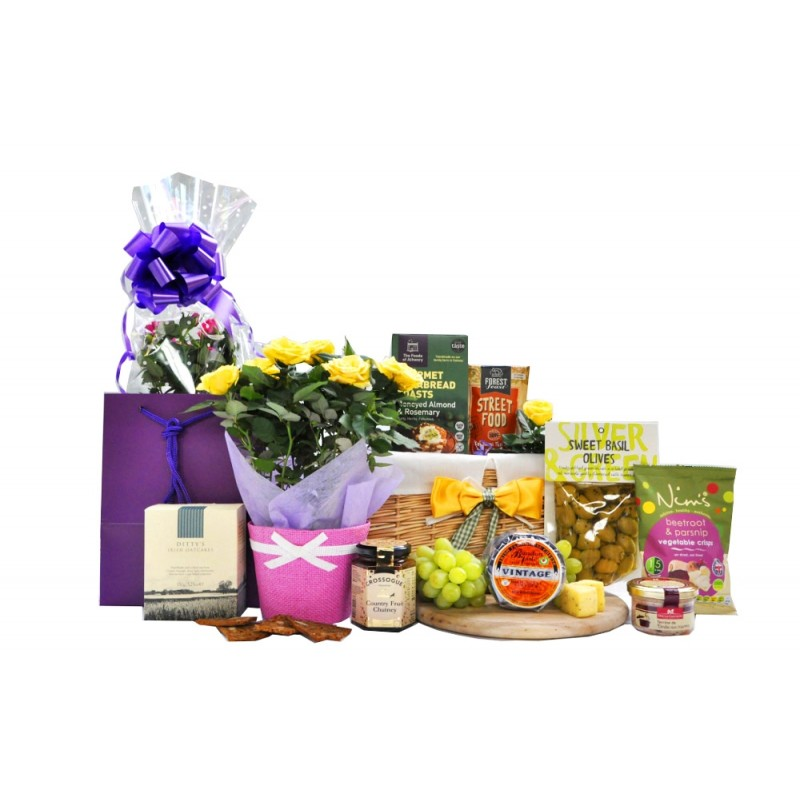 Flowers and Cheese Gift Basket