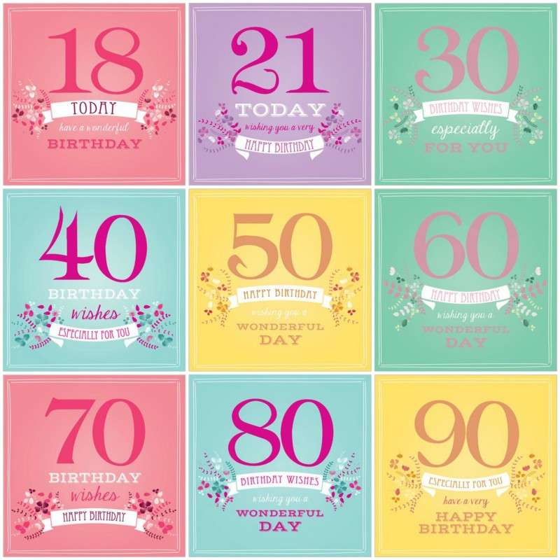 Female Birthday Age Cards 18-90